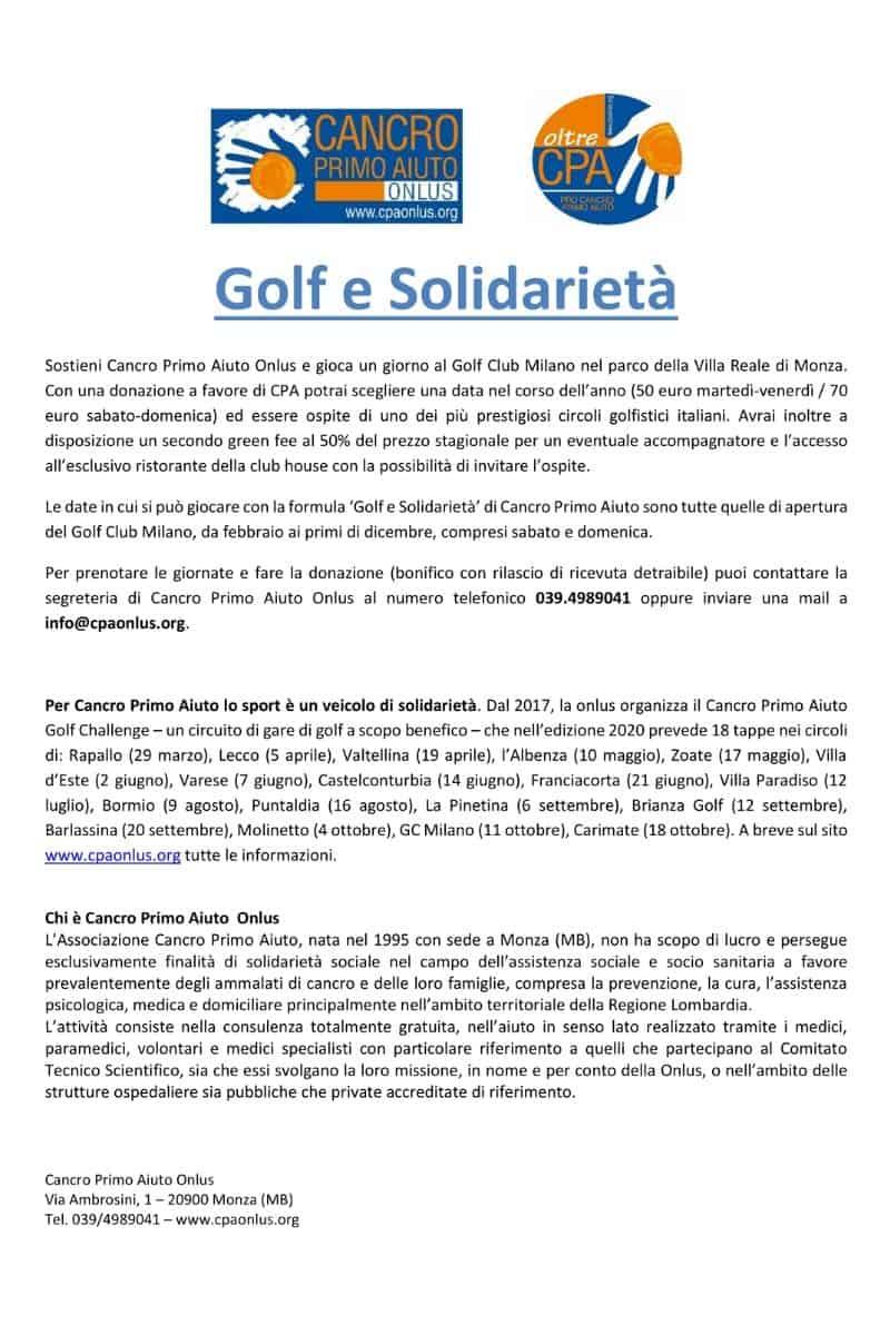 GOLF e non solo - Eventi - Golf e solidarietà